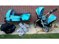Oyster Max double buggy, VGC, travel system