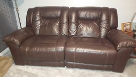 2 x 3 seater leather reclining sofas