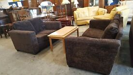 Brown fabric 2 and 3 seater modern sofa set
