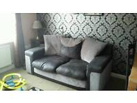 Black & grey 2 large seater sofa & swivel chair