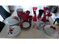 53 items Plates, vine glasses, cups, bowls etc