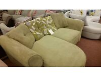 Cheap green cord effect 3 seater lounger sofa