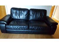 3 + 2 seater black sofas
