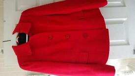 M & S Ladies Red Wool Look Jacket Size 18 - Excellent Condition