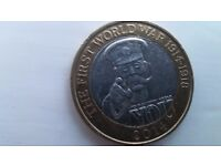 RARE Royal Mint error Lord Kitchner 2 pound Coin