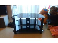 TV Stand. High Quality. Solid glass. Black.