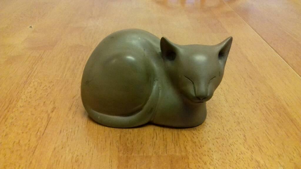 Bronze cat ornament cat sculpture by D J Scaldwell
