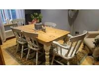 Farmhouse solid wood table and chairs