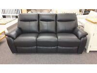 Furniture Village Snug 3 Seater Black Leather Electric Recliner Sofa Can Deliver