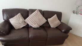 3+2 brown leather recliner sofa