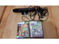 Official Microsoft Xbox 360 Kinect Sensor Bar - Good Condition PLUS 2 GAMES
