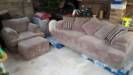 Sofa, chair and footstool from dfs