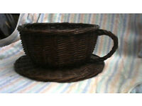 Wicker cup and saucer