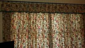 2 pairs of full length curtains with matching pelmets