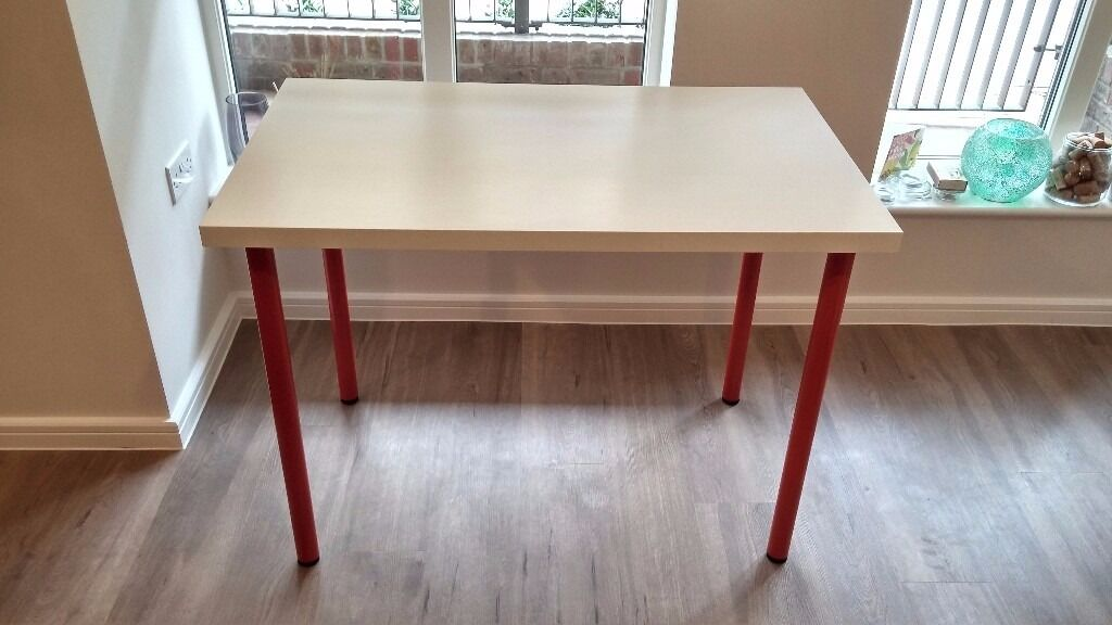 ikea linnmon adils table white with red legs in london gumtree. Black Bedroom Furniture Sets. Home Design Ideas