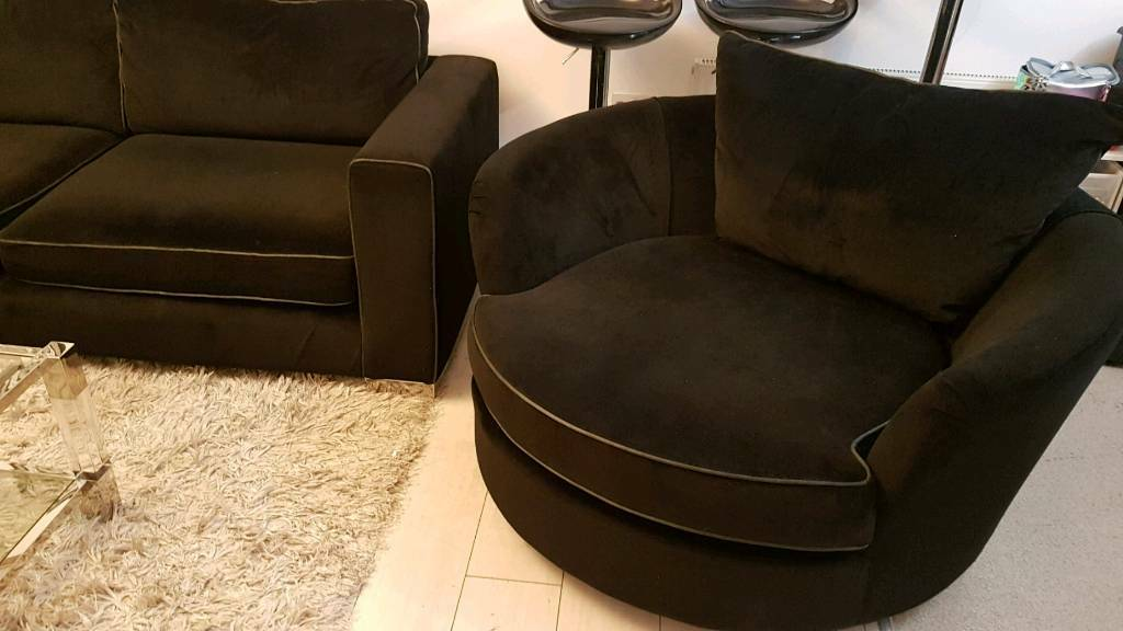 Solofoloy Sofa And Chair Modern Sleek Black Velvet