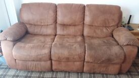 3 seater and 1 chair in tan brown