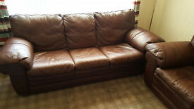 Brown 3 and 2 Seater leather sofas