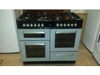 New world SPIRIT Silver 100cm 8 Burner Dual Fuel Range Double Cooker - Excellent condition