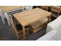 Ex Display Julian Bowen Coxmoor Solid Oak Dining Table & 4 Dining Chairs **Can Deliver**