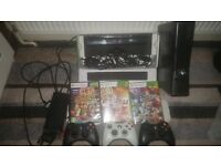XBOX 360 SLIM (250 GB WITH WIRES AND 2 CONTROLLERS), XBOX 360 KINECT SENSOR AND 4 GAMES