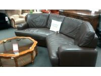 Corner sofa J H Hicolity upholstered in brown leather - British Heart Foundation