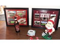 Arsenal Gnome Framed pictures, emirates stadium model & bottle of wine.