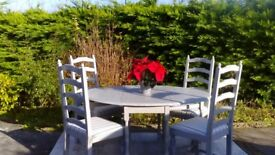 Beautiful, Vintage Oak Dining Table & 4 Chairs. Paris Grey, Shabby Chic. Delivery Available.