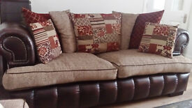 3 Seater Chesterfield Brown Leather/upholstered Sofa