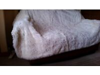 TWO NEW THROWS ONE WHITE SHEEPSKIN FLEECE/ONE LEOPARD PRINT HEATED THROW PIFCO/BOTH OR SEPERATELY.