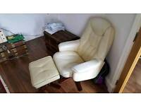 Cream leather recliner and footstool