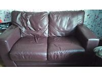 Two purple/red sofas good condition