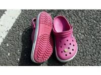 Ladies crocs, size 5, with smiley