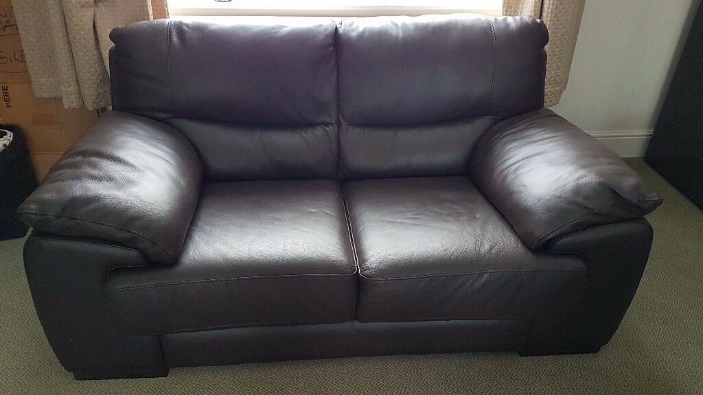 Latina 2 Seater Italian Leather Sofa Brown Ex Costco