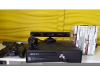 Xbox 360 500Gb with Kinect, 2 controllers and 9 games