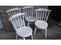 FOUR VICTORIAN WOODEN DINING CHAIRS