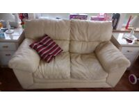 DFS cream leather 2 seater settee & armchair