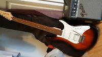 Yamaha Pacifica guitar and fender amp