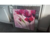 Large mirror framed pink flower picture