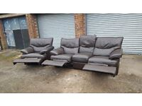 Brown leather sofa suite with recliners.originally from DFS. large 3 seater and armchair.can deliver