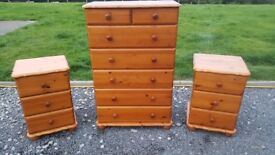 chest of drawers and bedside lockers