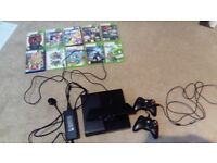 Xbox 360 console bundle includes controllers and games