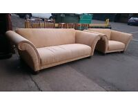 3 seater sofa with large cuddle chair (delivery available)