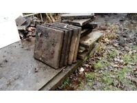 Concrete paving slabs and roof tiles. Free to collector.