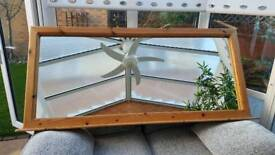 Solid wooden pine mountable mirror