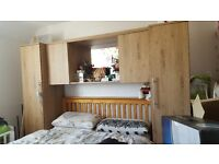 Overbed wardrobe with matching chest of drawers and single wardrobe with mirror