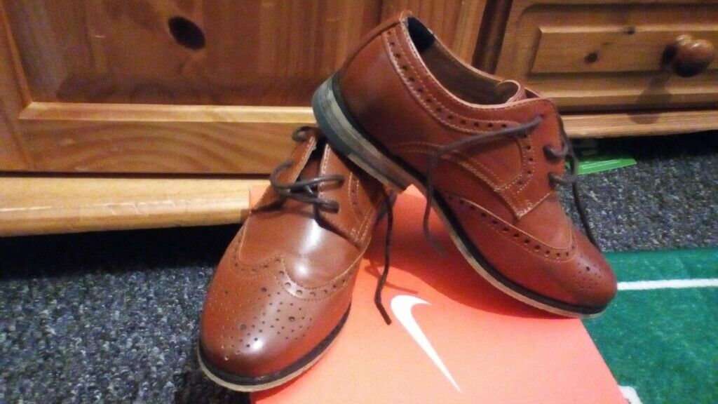 78a7732640c Boys brown leather brogues size 12