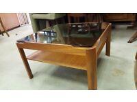 Mid Century Myer Smoked Glass & Teak Danish Inspired Coffee Table