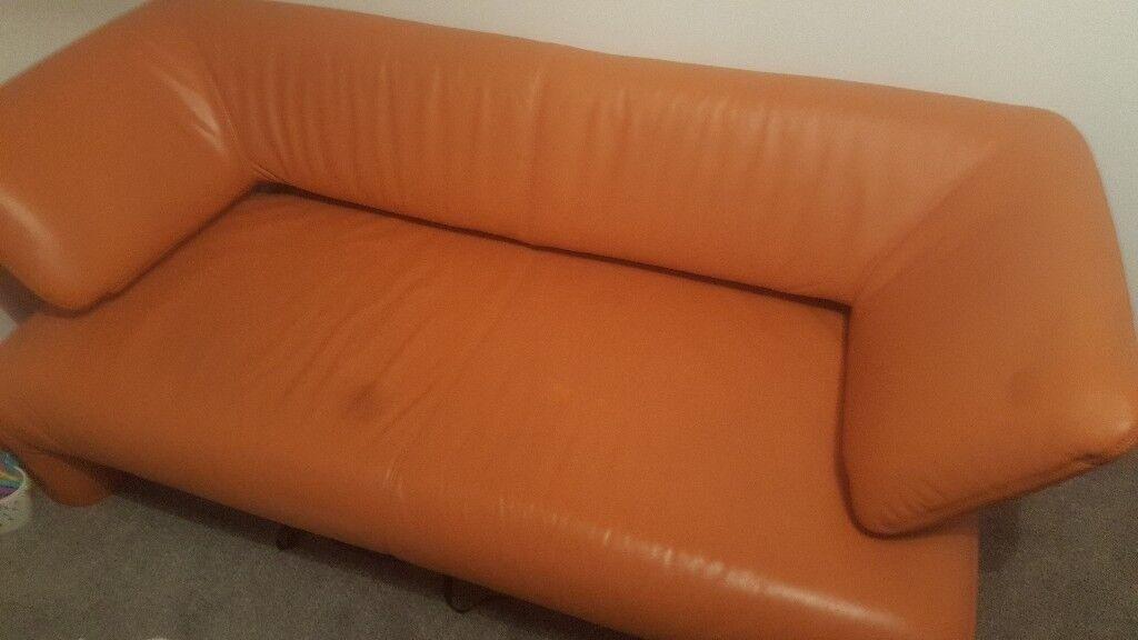 Handmade unique orange leather sofa