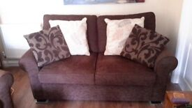 3 seater, 2 seater and armchair sofas. Brown Damask Fabric